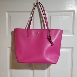Kate Spade Hot Pink Leather Tote Bag